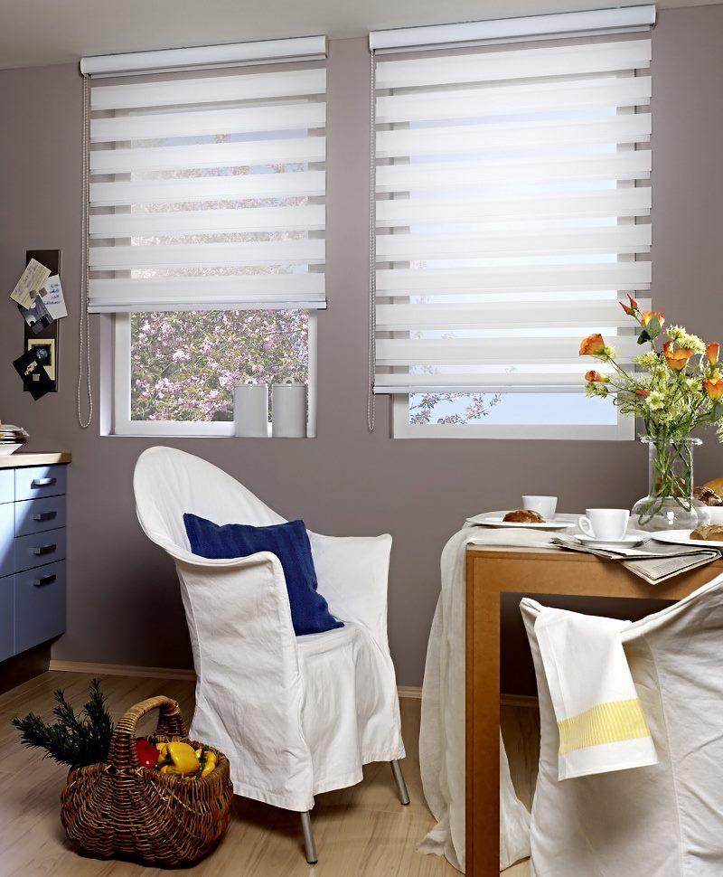 Дизайн пластиковых окон с жалюзи типа день-ночь