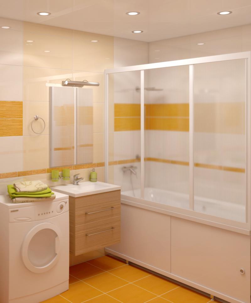 Зонирование ванной комнаты с помощью раздвижной шторки