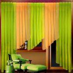 Желто-зеленые шторы из тонкой ткани