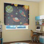 Дизайн детской с космическими шторами