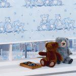 Изображение с плюшевыми мишками на полотне шторы