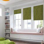 Удобные диванчик перед окнами в детской комнате
