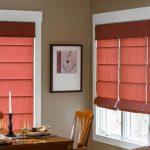 Каскадные римские шторы красно-коричневого цвета