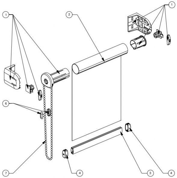 Конструкция рулонной шторы