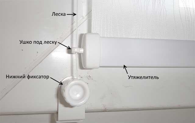 Направляющая леска на рулонной шторе открытого типа