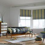 Полосатые римские шторы в гостиную с большими окнами