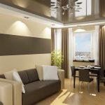 Потолочный карниз для столовой-гостиной с натяжным потолком
