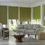 Интерьер гостиной с плотными шторами рулонного типа
