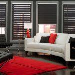 Черные шторы типа зебра в интерьере гостиной