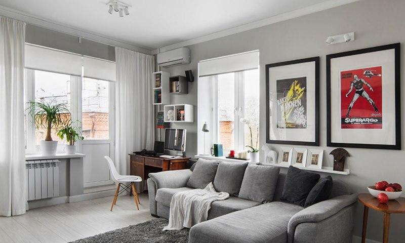 Полупрозрачные рулонные шторы в гостиной скандинавского стиля