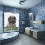 Рулонные шторы с фотопечатью в ванной комнате