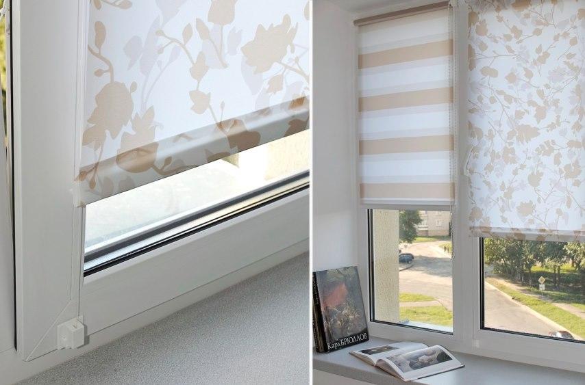 Рулонная штора с леской на пластиковом окне