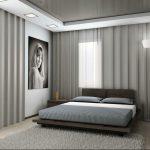 Шторы на встроенных карнизах в спальне