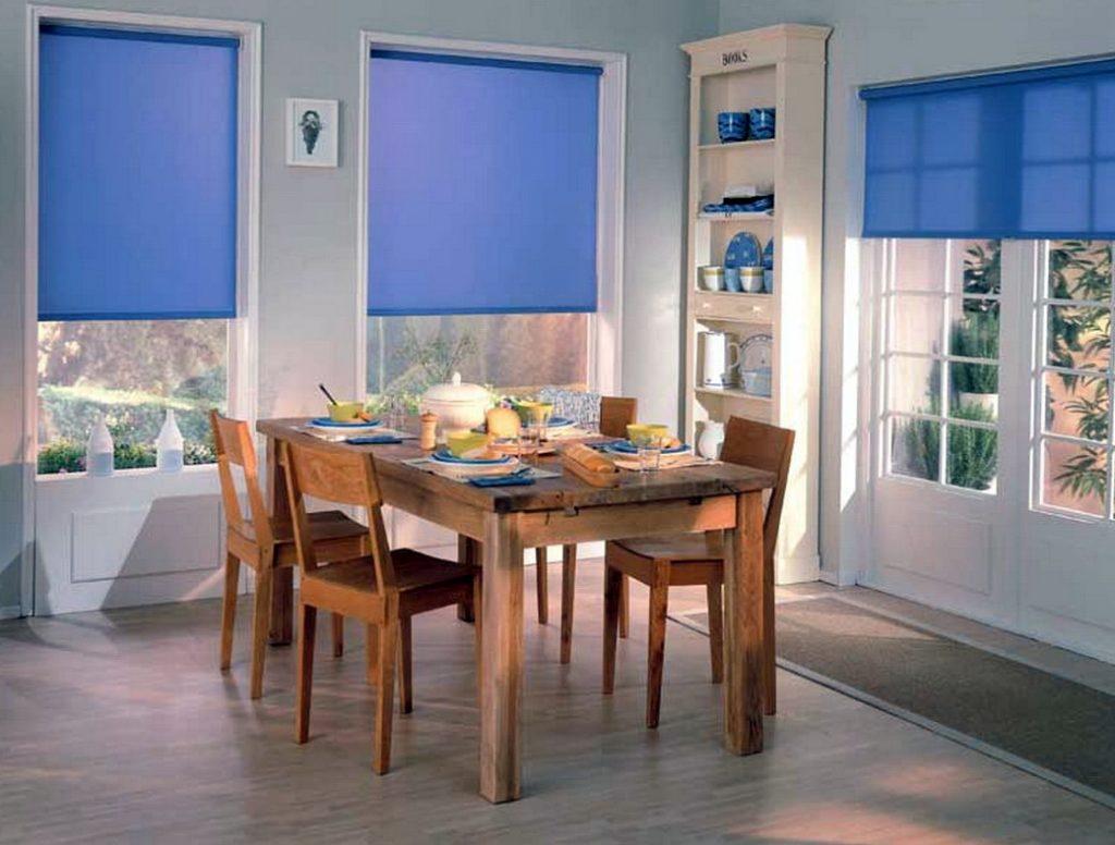 Синие рулонные шторы в гостиной частного дома