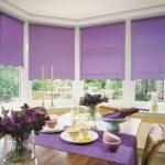 Сиреневые рулонные шторы для столовой