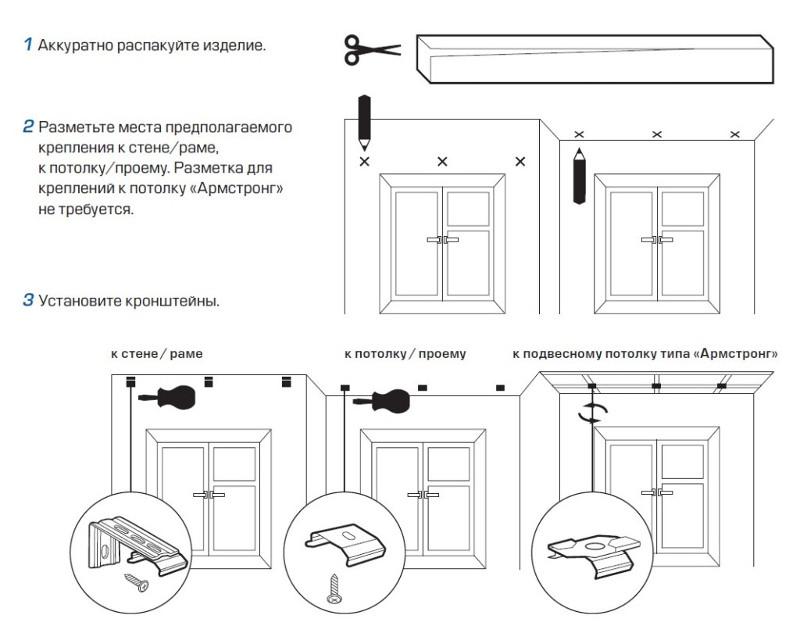 Порядок установки рулонной шторы на стену и на потолок