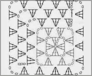 Схема узора квадрат с угла