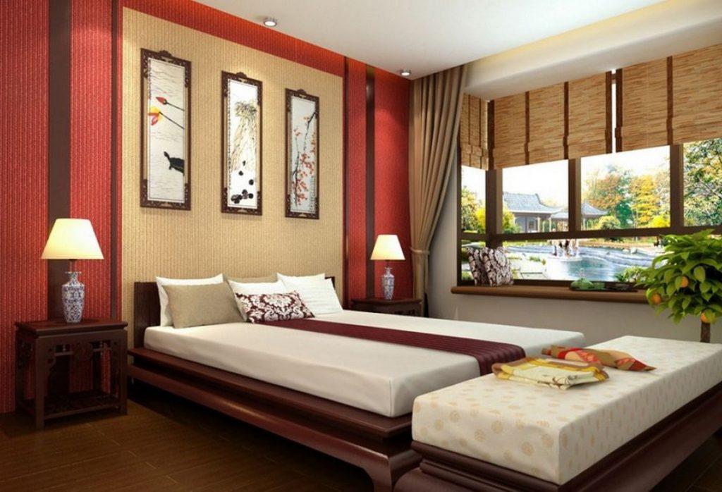 Бамбуковые шторы в спальне китайского стиля