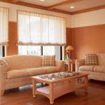 Светлые полупрозрачные римские шторы для панорманых окон в гостиную