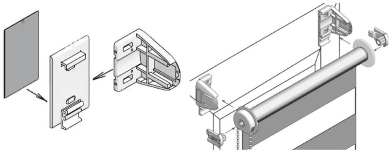 Схема сборки кронштейнов и подвески рулонной шторы на скотч