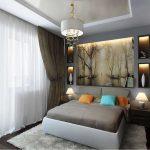 Спальня с белым тюлем на окне