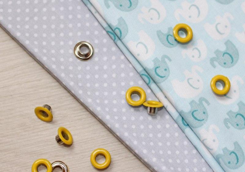 Желтые люверсы без кольца для ткани