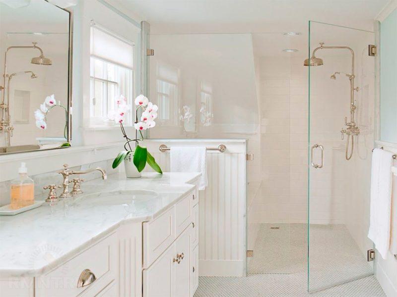 Стеклянная дверка в ванной с душем без поддона