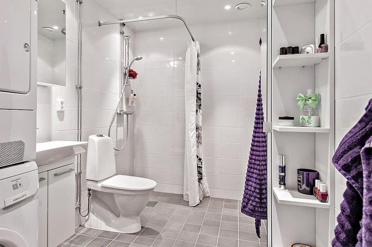 Интерьер ванной с душем без поддона