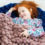 Дымчатый плед из шерсти мериноса для малыша