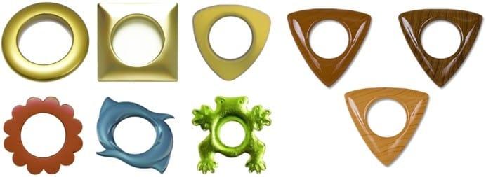 Различные формы люверсов для штор