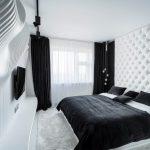 Черный бархат в дизайне современной спальни