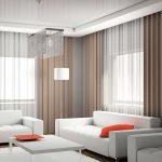 Дизайн гостиной с двумя белыми диванами