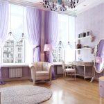 Сиреневый интерьер комнаты для девушки