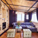 Отделка ОСП стен и потолка гостиной