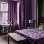 Фиолетовый цвет в интерьере женской спальни