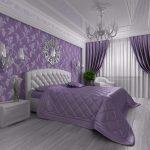 Фиолетовые обои в спальне классического стиля