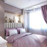 Подвесной светильник над кроватью в спальне
