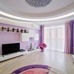 Дизайн гостиной в сиреневых тонах