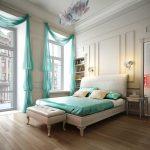 интерьер просторной спальни с высоким потолком