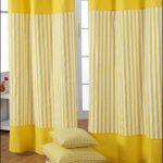 Желтые полосы на шторах из хлопка