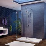 Просторная ванная с душем посередине