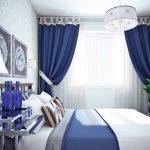 Синие шторы на лентах в небольшой спальне