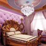 Дизайн спальни с позолоченной кроватью