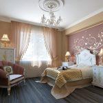 Ламинированное покрытие в спальной комнате