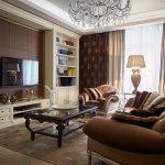 Коричневый цвет в оформлении интерьера зала