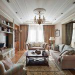 Встроенная мебель в зале частного дома