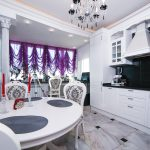 Французские шторы из фиолетового тюля