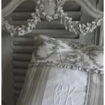 Именная подушка серого цвета в стиле прованс