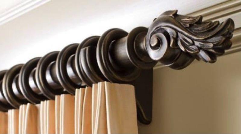 Карниз для шторы из натурального дерева