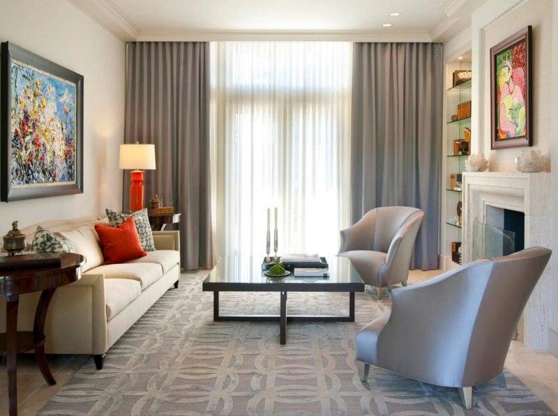 Серые шторы в сочетании с белым тюлем